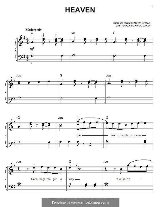 Heaven (Los Lonely Boys): Для фортепиано (легкий уровень) by Henry Garza, Joey Garza, Ringo Garza