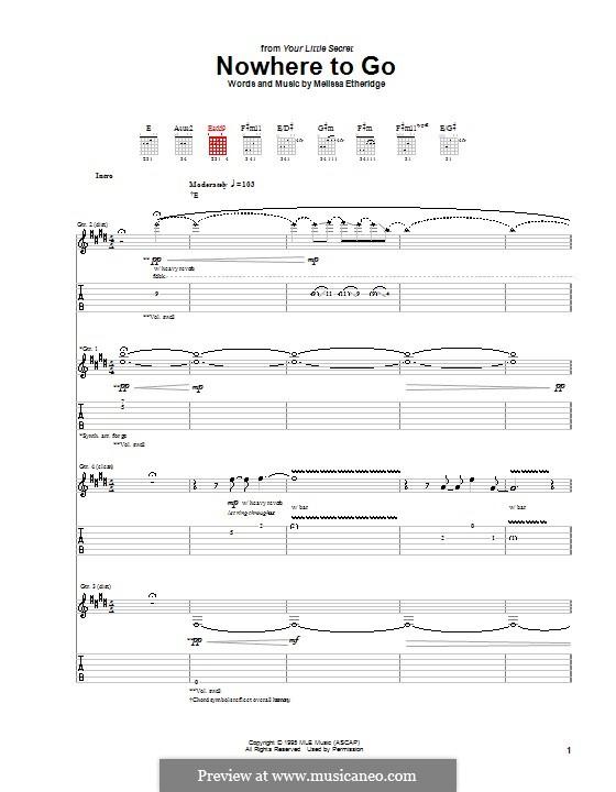 Nowhere To Go: Гитарная табулатура by Melissa Etheridge