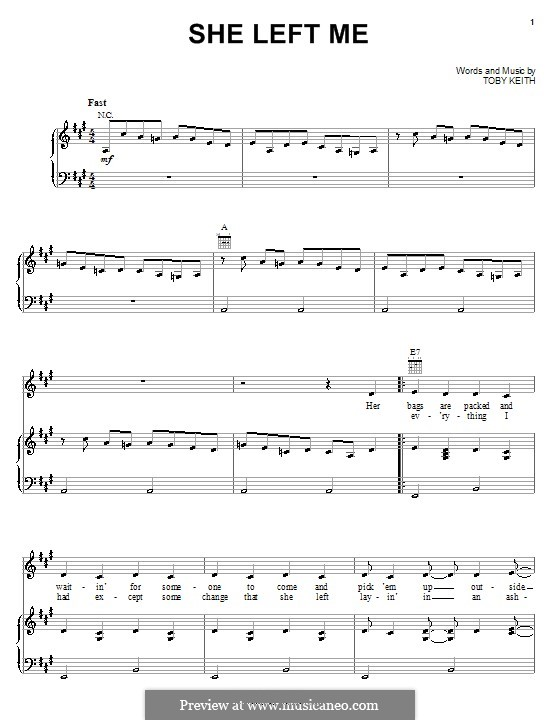 She Left Me: Для голоса и фортепиано (или гитары) by Toby Keith