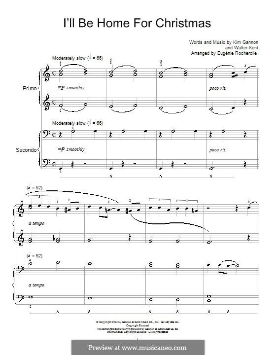 I'll Be Home for Christmas: Для фортепиано в 4 руки (Bing Crosby) by Kim Gannon, Walter Kent
