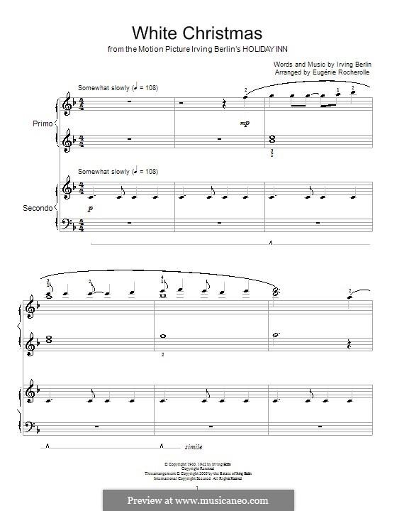 White Christmas, for Piano: Версия для фортепиано в 4 руки by Ирвинг Берлин