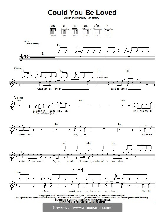 Could You Be Loved (Bob Marley and The Wailers): For guitar with strumming patterns by Bob Marley