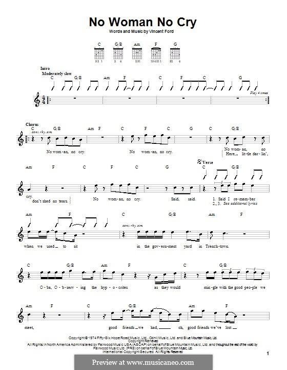 No Woman No Cry (Bob Marley): Для гитары (с вариантом боя) by Vincent Ford
