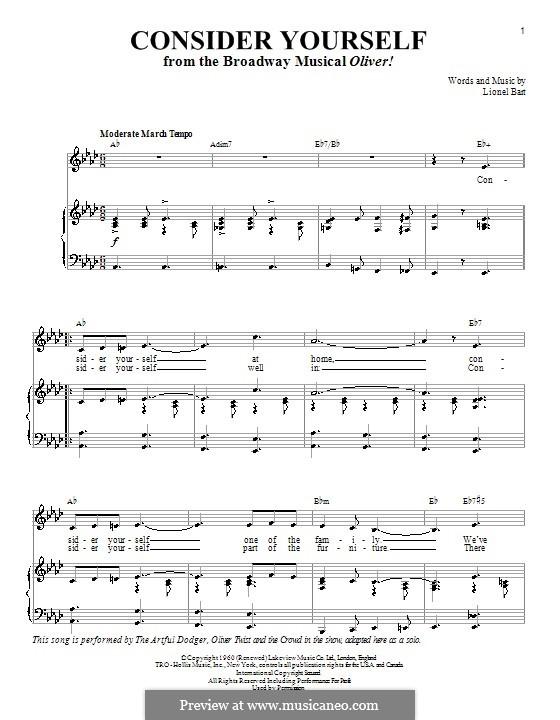 Consider Yourself (from Oliver!): Для голоса и фортепиано или гитары (Ля-бемоль мажор) by Lionel Bart
