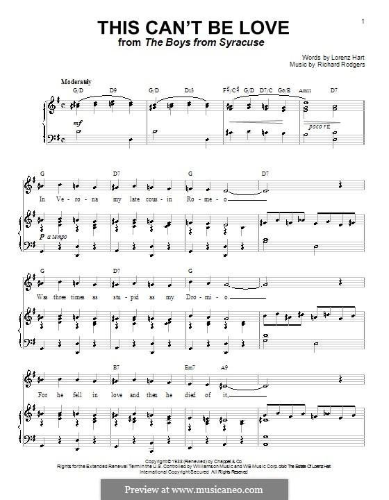 This Can't Be Love: Для голоса и фортепиано или гитары (соль мажор) by Richard Rodgers