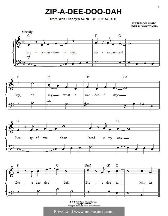 Zip-A-Dee-Doo-Dah: Для фортепиано (легкий уровень) (James Baskett) by Allie Wrubel