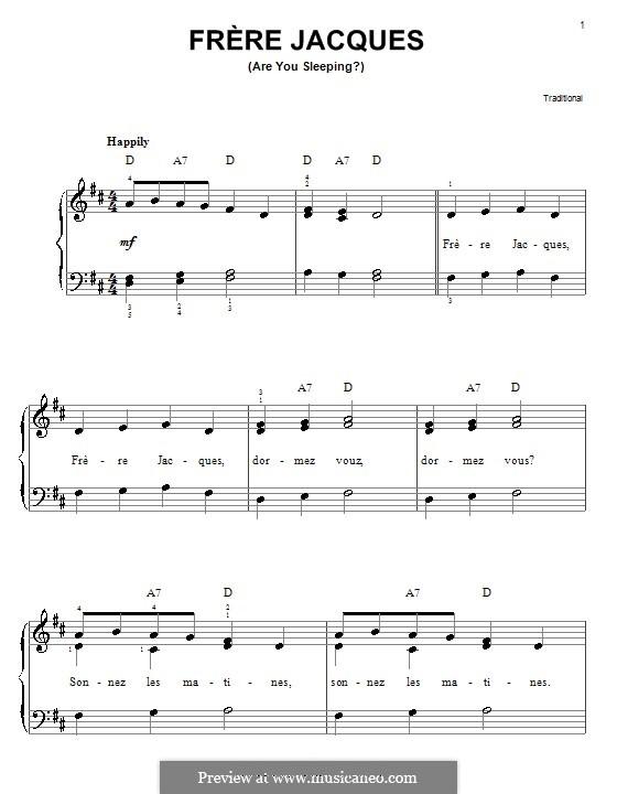 Frere Jacques (Are You Sleeping?): Для фортепиано (легкий уровень) by folklore