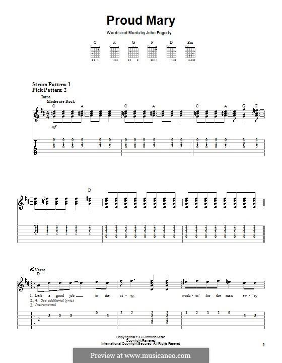 Proud Mary (Creedence Clearwater Revival): Для гитары (очень легкая версия) by John C. Fogerty