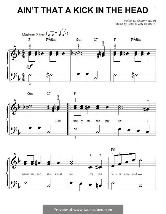 Ain't That a Kick in the Head: Для фортепиано (легкий уровень) (Dean Martin) by Jimmy Van Heusen