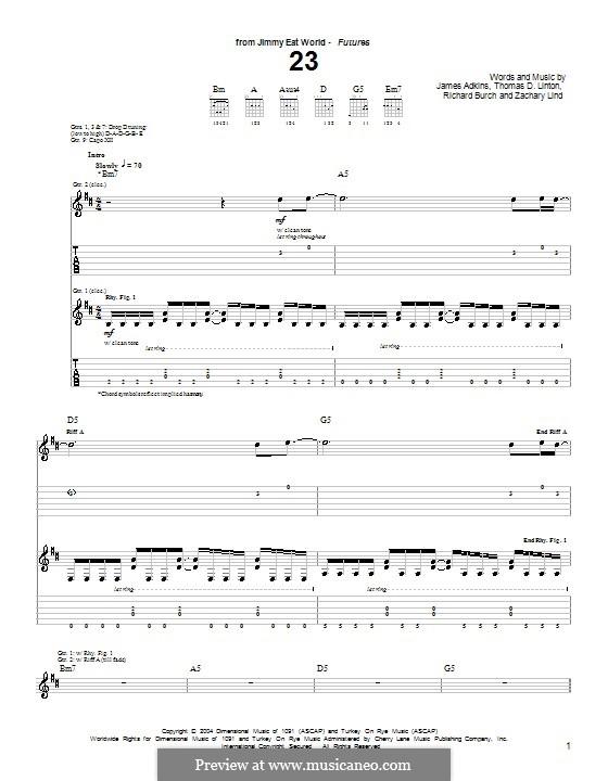 23 (Jimmy Eat World): Для гитары с табулатурой by James Adkins, Richard Burch, Thomas D. Linton, Zachary Lind