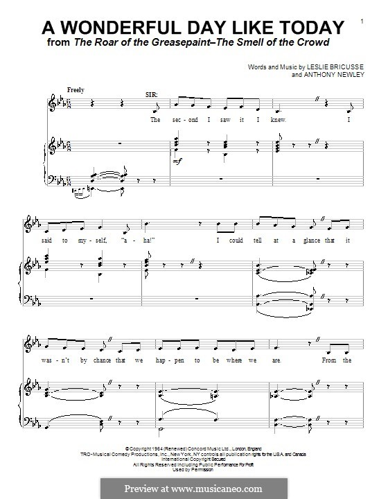 A Wonderful Day Like Today: Для голоса и фортепиано (или гитары) by Anthony Newley