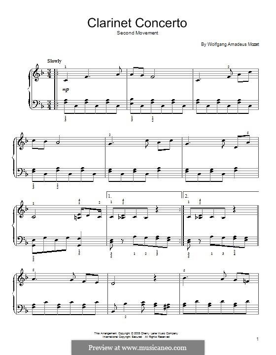 Концерт для кларнета с оркестром ля мажор, K.622: Адажио. Версия для начинающего пианиста (фа мажор) by Вольфганг Амадей Моцарт