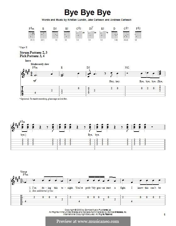 Bye Bye Bye (N Sync): Для гитары (очень легкая версия) by Andreas Carlsson, Jake Carlsson, Kristian Lundin