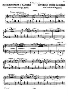 Привет отчизне: No.1 Воспоминание о Мазурке by Михаил Глинка