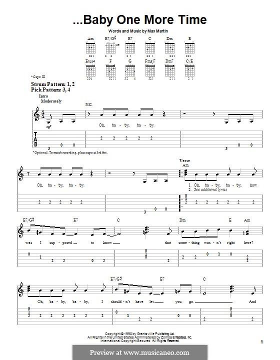 Baby One More Time (Britney Spears): Для гитары (очень легкая версия) by Max Martin