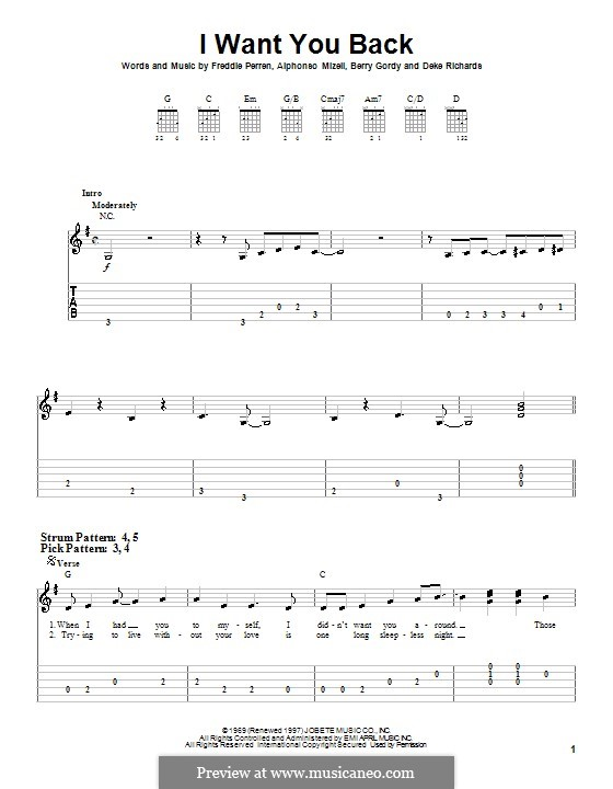 I Want You Back (The Jackson 5): For easy guitar with tab by Alphonso Mizell, Berry Gordy, Deke Richards, Freddie Perren