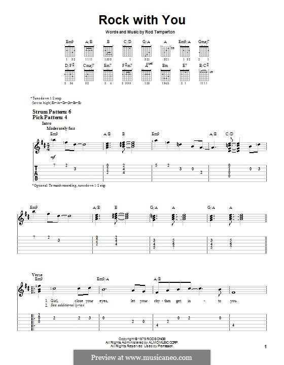 Rock with You (Michael Jackson): Для гитары (очень легкая версия) by Rod Temperton