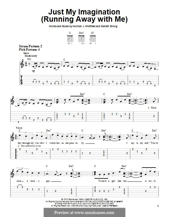 Just My Imagination (Running Away with Me): For easy guitar (The Temptations) by Barrett Strong, Norman J. Whitfield