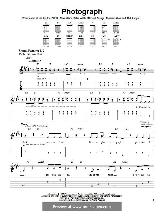 Photograph (Def Leppard): Для гитары (очень легкая версия) by Joe Elliott, Peter Willis, Richard Allen, Richard Savage, Robert John Lange, Steve Clark
