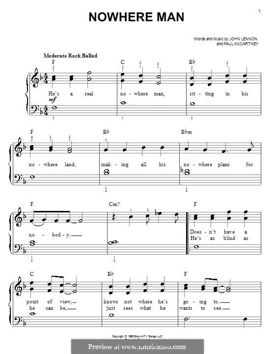 Nowhere Man (The Beatles): Для фортепиано (легкий уровень) by John Lennon, Paul McCartney