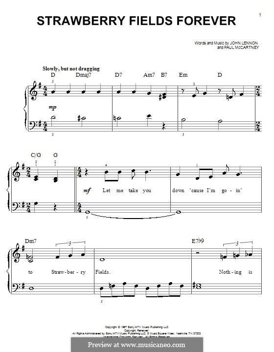 Strawberry Fields Forever (The Beatles): Для фортепиано (легкий уровень) by John Lennon, Paul McCartney
