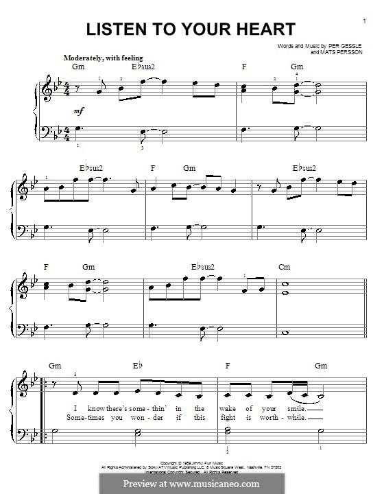 Listen to Your Heart (D.H.T.): Для фортепиано (легкий уровень) by Mats Persson, Per Gessle