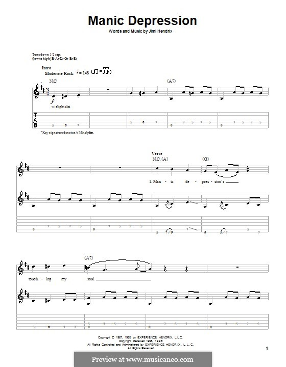 Manic Depression: Гитарная табулатура by Jimi Hendrix