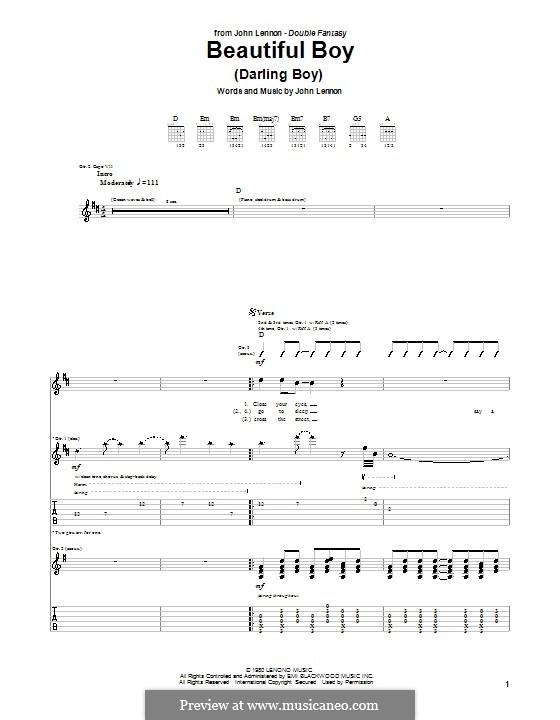 Beautiful Boy (Darling Boy): Гитарная табулатура by John Lennon