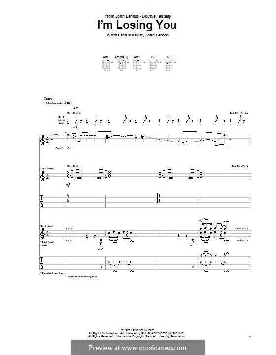 I'm Losing You: Гитарная табулатура by John Lennon