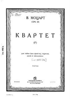 Квартет для гобоя и струнных фа мажор, K.370: Партии by Вольфганг Амадей Моцарт