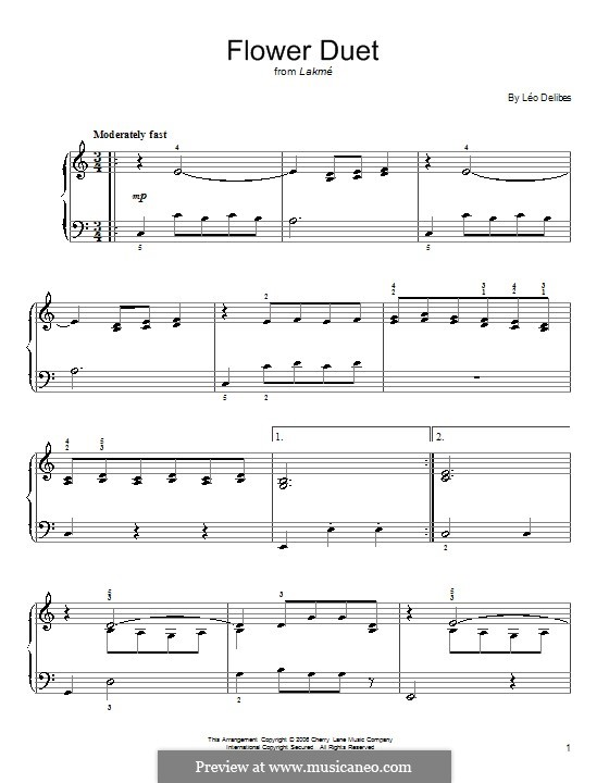 The Flower Duet: Для фортепиано (легкий уровень) by Лео Делиб