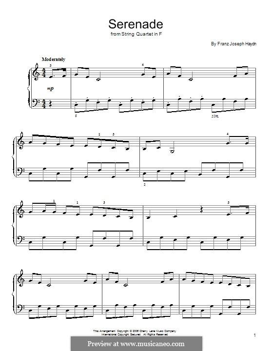Струнный квартет фа мажор, Hob.III/17 Op.3 No.5: Часть II. Версия для начинающего пианиста by Йозеф Гайдн