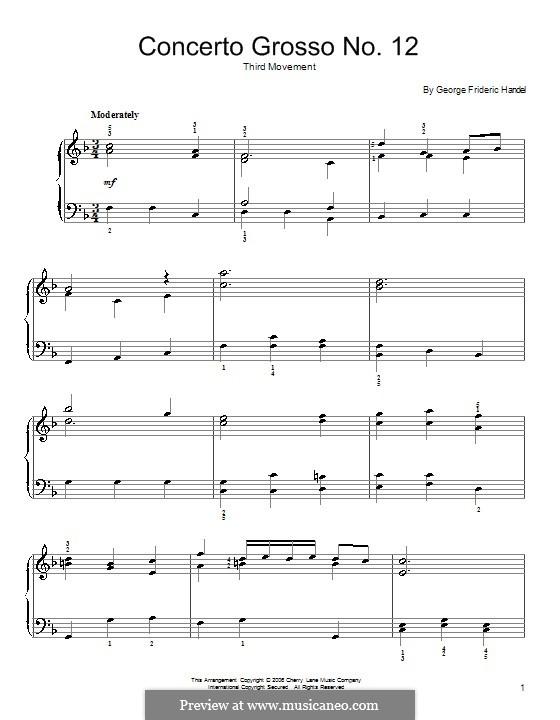 Кончерто гроссо No.12 си минор, HWV 330: Ларгеттто. Версия для фортепиано by Георг Фридрих Гендель