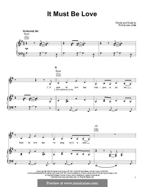 It Must Be Love: Для голоса и фортепиано (или гитары) by Rickie Lee Jones