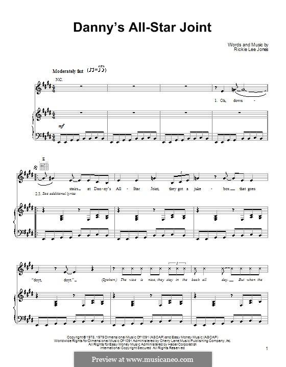 Danny's All-Star Joint: Для голоса и фортепиано (или гитары) by Rickie Lee Jones
