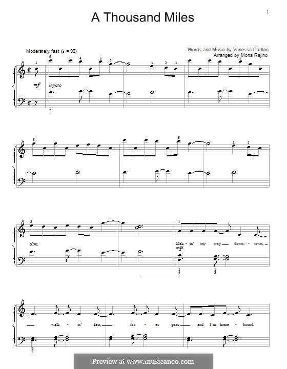 A Thousand Miles: Для фортепиано (с аппликатурой) by Vanessa Carlton
