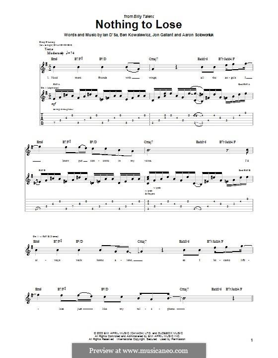 Nothing to Lose (Billy Talent): Гитарная табулатура by Aaron Solowoniuk, Ben Kowalewicz, Ian D'Sa, Jon Gallant