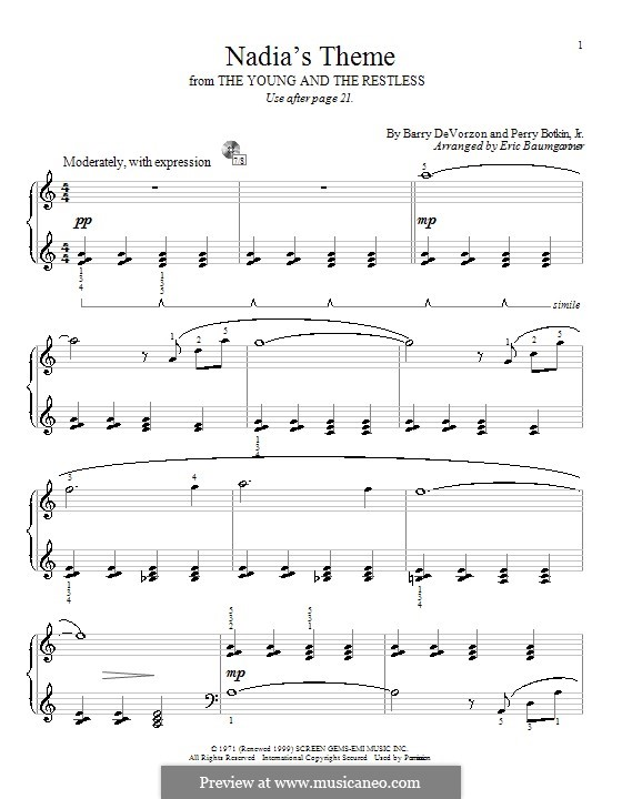 Nadia's Theme (from The Young and the Restless): Для фортепиано by Barry DeVorzon, Perry Botkin Jr.