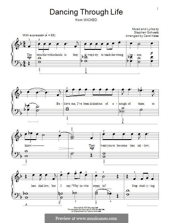 Dancing Through Life (from Wicked): Для фортепиано by Stephen Schwartz