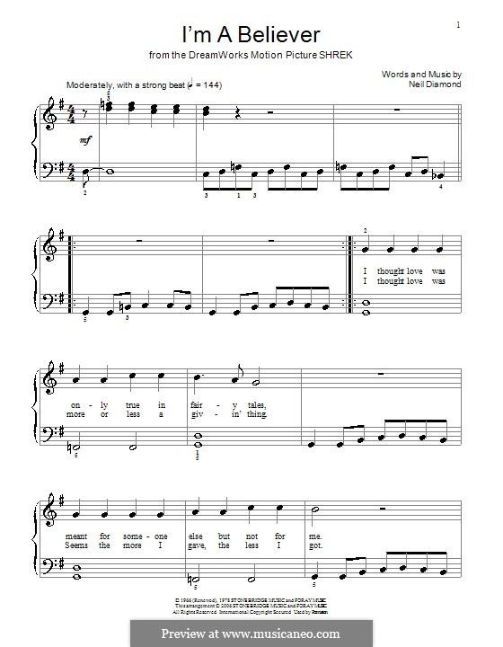 I'm a Believer: Для фортепиано (легкий уровень) (с текстом) by Neil Diamond