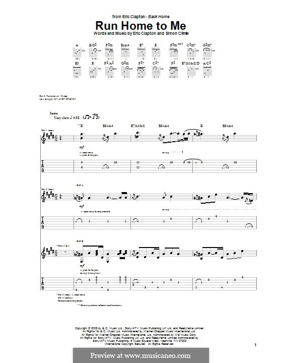 Run Home to Me: Гитарная табулатура by Simon Climie