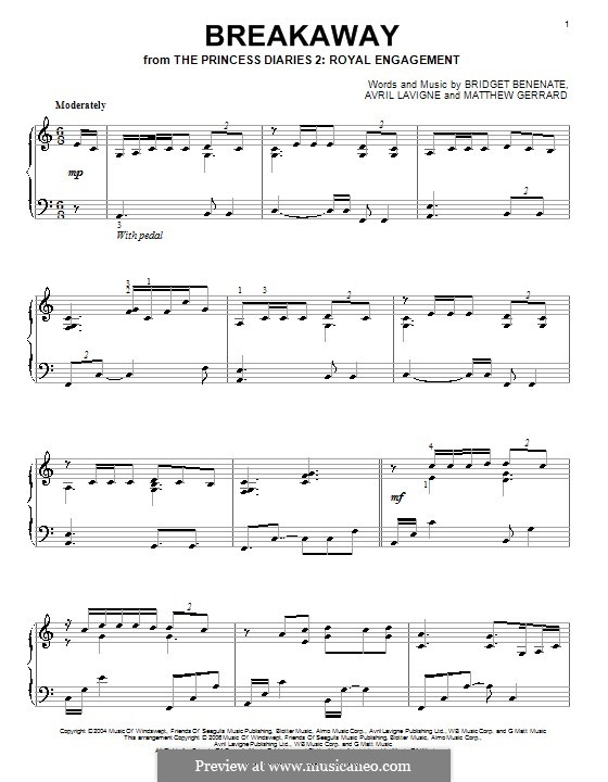 Breakaway (Kelly Clarkson): Для фортепиано by Avril Lavigne, Bridget Benenate, Matthew Gerrard