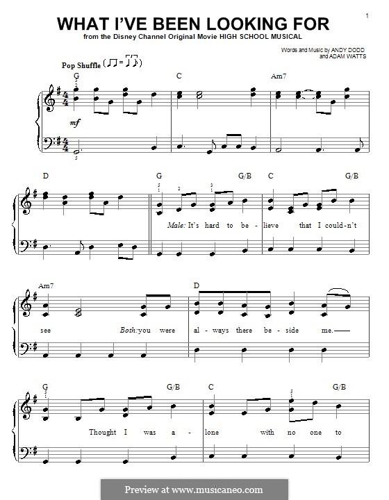 What I've Been Looking for (High School Musical): Для фортепиано (легкий уровень) by Adam Watts, Andrew Dodd