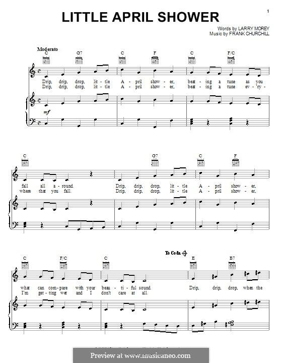 Little April Shower (from Bambi): Для голоса и фортепиано (или гитары) by Frank Churchill