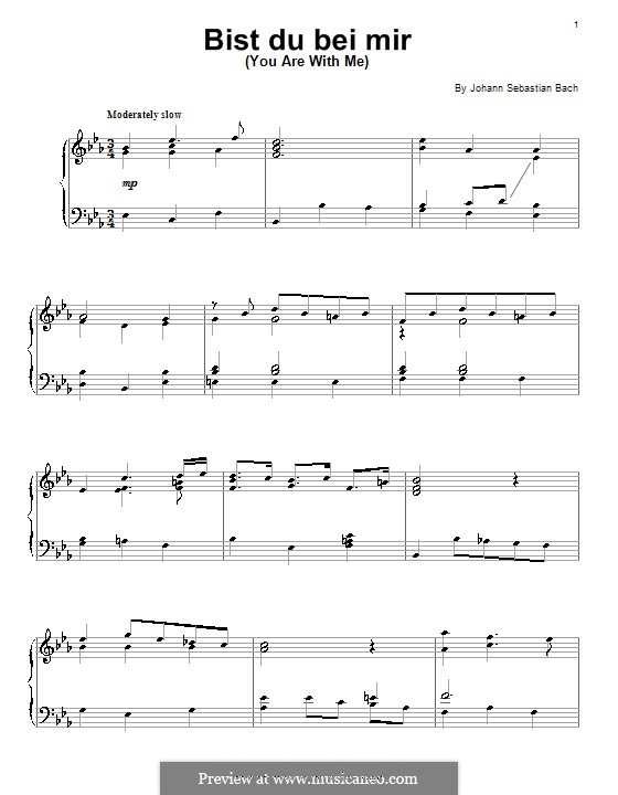 No.25 Bist du bei mir (You Are with Me), Printable scores: Для фортепиано by Иоганн Себастьян Бах