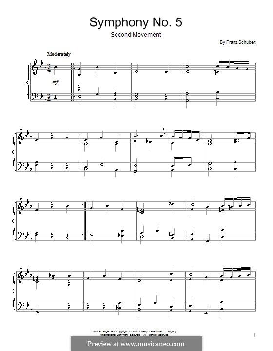Симфония No.5 си-бемоль мажор, D.485: Часть II (Тема). Версия для фортепиано by Франц Шуберт