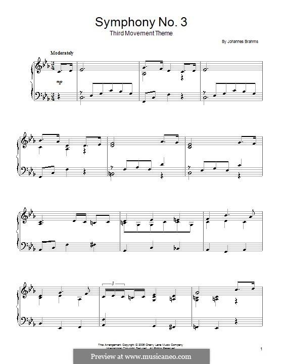Часть III: Тема. Версия для фортепиано by Иоганнес Брамс