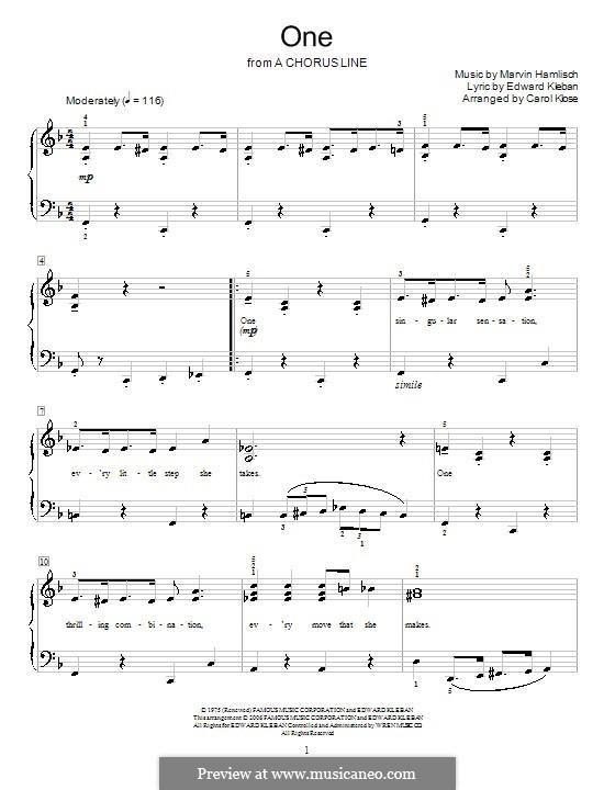 One (from A Chorus Line): Для фортепиано (Anita Kerr) by Marvin Hamlisch