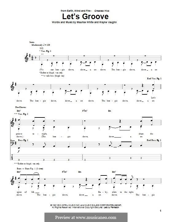 Let's Groove (Earth, Wind & Fire): Для бас-гитары с табулатурой by Maurice White, Wayne Vaughn