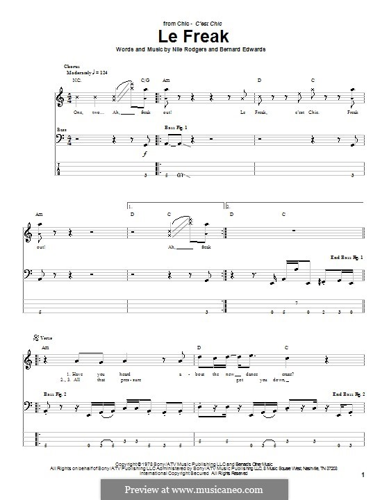 Le Freak (Chic): Табулатура для бас-гитары by Bernard Edwards, Nile Rodgers